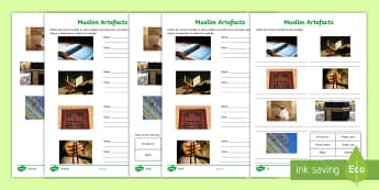Muslim Artefacts Differentiated Activity Sheets - Islam, Islamic, World religions, special objects, Allah, Qur'an