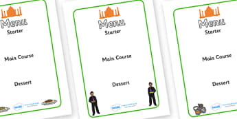 Indian Restaurant Role Play Menu Creation - Indian restaurant, role play, curry, food, takeaway, menu, Indian culture, India, poppdom