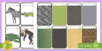 Tarjetas de emparejar: Pieles de animales salvajes - animales, salvaje, animal, cocodrilo, canguro, mono, oso, polar, panda, jirafa, elefante, rinoceront