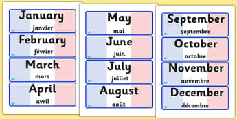 French Months of the Year Word Cards English Translation - months, year