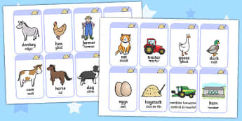 On the Farm Flash Cards Romanian Translation - romanian, farm