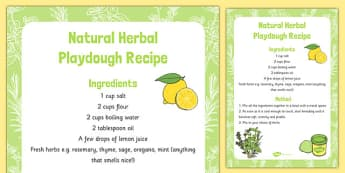 Natural Herbal Playdough Recipe - natural, herbal, playdough, recipe