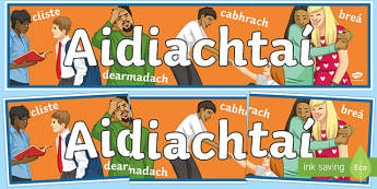 Adjectives Display Banner Gaeilge