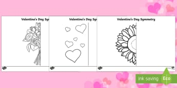 Valentines Day Symmetry Activity Sheets - Valentine's Day Heart Symmetry Worksheets - symmetry, sheets, symmetry sheets, valentines day, vale