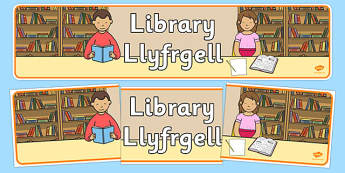 Library Corner Display Banner Welsh Translation - welsh, cymraeg, Foundation Phase, Library, Display Banner