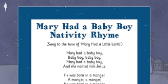 Mary Had a Baby Boy Nativity Song Rhyme - mary had a baby boy, nativity, song, rhyme