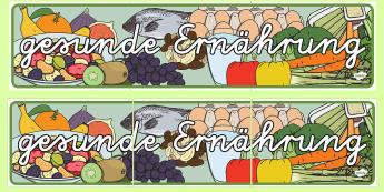 Gesunde Ernährung Banner für die Klassenraumgestaltung - Gesunde Ernähung Banner für die Klassenraumgestaltung, Gesunde Ernährung, Ernährungskunde, Gesun