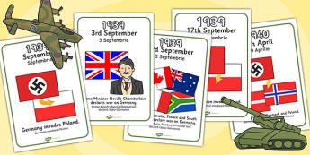 World War Two Timeline A4 Romanian Translation - romanian, world war two, timeline