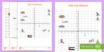UAE Coodinates Differentiated Activity Sheets - UAE, cooridinates, landmarks, animals, math