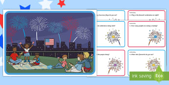 Fourth of July Scene and Question Cards - Independence Day, 4th July, July 4th, American Independence, fireworks, scene and question cards, Fo