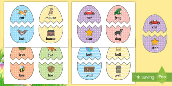 Easter Egg Rhyming Words Matching Game - EYFS, Early Years, KS1, Easter, Easter eggs, Literacy, English, rhyming pairs, rhyming words, phonic