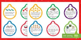 Înmulțire pe globuri Cartonașe cu probleme - Christmas, Crăciun, Mpș Crăciun, tabla înmulțirii, înmulțire, calcule, probleme, globuri, dec