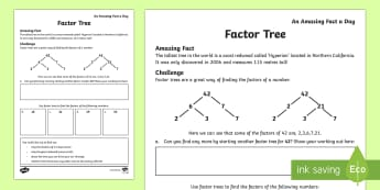 Factor Trees Activity Sheet, worksheet