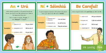 How to Form Negative Sentences and Questions Display Posters - an, foirm, cheisteach, an foirm diultach, display, Irish