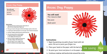 Anzac Day Hand Print Poppy Art Activity - Australia, anzac day, anzac, poppy, handprints, hand print, handprint, anzac poppy