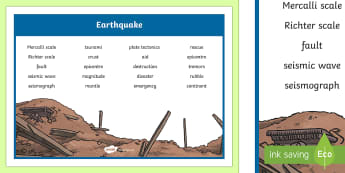Earthquake Word Mat - New Zealand Natural Disasters, earthquake, earthquakes