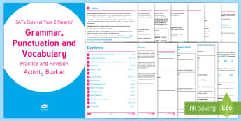 SATs Survival: Year 2 Parents' Grammar, Punctuation and Vocabulary Practice and Revision Activity Booklet - SATs Survival Materials Year 2, SATs, assessment, 2017, English, SPaG, GPS, grammar, punctuation, sp