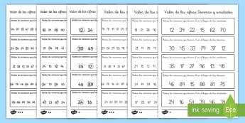 Ficha de actividad: El valor de las cifras - Números de 2 cifras - valor de las cifras, matemáticas, mates, valor posicional, decenas, unidades, cifras, valor, ,Spani