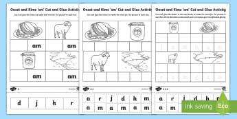 'am' Onset and Rime Differentiated Activity Sheets - EYLF, Literacy, phonological awareness, onset and rime, cvc words, Worksheets, english, kindergarten