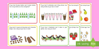 First Level Addition Word Problem Challenge Cards - challenge, cards