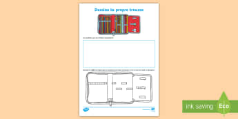 Feuille d'activités : Dessine ta propre trousse - dessine ta propre trousse, classe, vocabulaire, Activity Sheet,French, worksheet