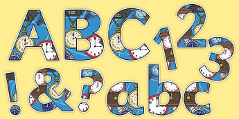 Time Clocks Themed Display Lettering - time, clocks, display lettering, display, lettering, letters