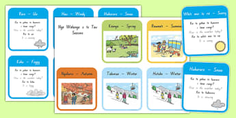 Te Reo Māori Weather and Seasons Flashcards