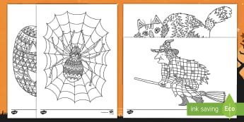 Halloween Themed Mindfulness Colouring Pages English/Mandarin Chinese - Halloween Themed Mindfulness Coloring Sheets - halloween, mindfulness, mindfullness, haloween, mindf