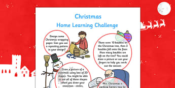 EYFS Christmas Home Learning Challenge Sheet Reception FS2 - eyfs, christmas, home learning, challenge sheet, reception