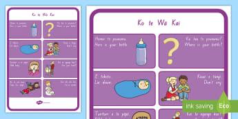 Ko Te Wa Moe A4 Display Poster - Māori, Te reo Maori, Te wiki o Te Reo maori, maori language week, infants and toddlers vocabulary,