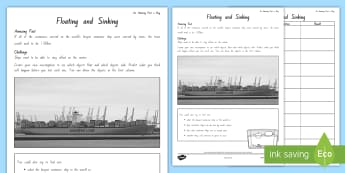 Years 3 and 4 Week 4 Chapter Chat Floating and Sinking Science Experiment to Support Teaching On The Lonely Lake Monster by Suzanne Selfors - literacy, new zealand, chapter chat, suzanne selfors, the lonely lake monster
