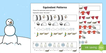 Winter Themed Equivalent Patterns Activity Sheet - Winter Resources, patterns and relationships, equivalent patterns, worksheet