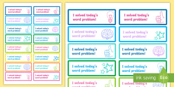 'I solved Today's Word Problem' Stickers - Maths, Rewards, Problem Solving, Solved, Praise,Irish
