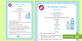 Mindfulness Calming Sensory Bottle - Mindfulness in the classroom mindfulness activities, meditation, breathing, focusing, calming down,