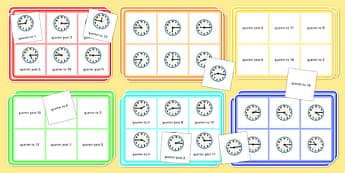Telling Time Quarter to and Quarter Past Bingo and Lotto Pack - telling the time, quarter to, quarter past, bingo, lotto, pack