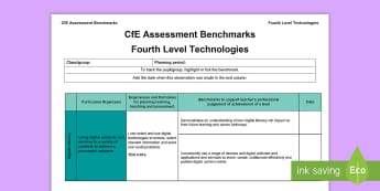 CfE Fourth Level Technologies Assessment Benchmarks Assessment Tracker - CfE Benchmarks, tracking, assessing, progression, numeracy, literacy, health and wellbeing,Scottish