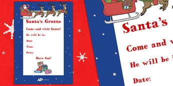 Santa's Grotto Poster - PTA poster, santas grotto, poster, display, display poster, christmas
