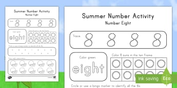 Summer Number Eight Activity Sheet - Summer, summer season, first day of summer, summer vacation, summertime, number recognition, number
