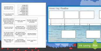 Anzac Day Timeline Matching Activity Sheet - New Zealand, Anzac Day, 25 April, ANZAC, Poppies, World War 1, worksheet, World War 2, Gallipoli