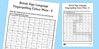 British Sign Language Left Handed Fingerspelling Colour Maze E