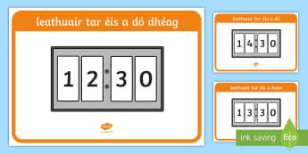 Digital 24 Hour Clocks - Half Past  Display Posters Gaeilge - Digital 24 Hour Clocks   Display Posters,Irish, Time, Am, Gaeilge, half past, Irish
