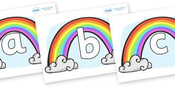 Phoneme Set on Rainbows - Phoneme set, phonemes, phoneme, Letters and Sounds, DfES, display, Phase 1, Phase 2, Phase 3, Phase 5, Foundation, Literacy