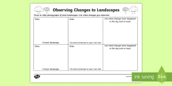 Observing Changes To Landscapes Activity Sheet - landscapes, landscape changes, observing landscapes, local landscapes, landscape record, earth and s