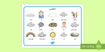 ورقة الكلمات المتعلقة بالطقس - طقس، ورقة، كلمات، المرحلة، الابتدائية، ضباب، مطر، ثلج