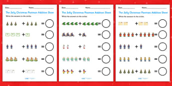 Up to 10 Addition Sheets to Support Teaching on The Jolly Christmas Postman - the jolly christmas postman, addition sheets, the jolly postman addition sheets, addition