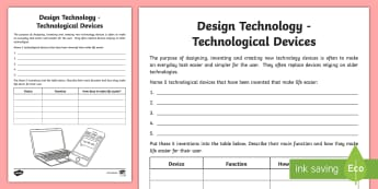 Design Technology Devices Activity Sheet - Australia YR 3 and 4 Design Technology, technological devices, tech devices, technology, devices, fu