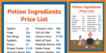 Magic Potion Ingredients Price List -  magic potion ingredients price list, ingredients, list, price, role play, witch, potions, dangerous, the magic potion, magic, potion, recipe, writing, independent writing, writing frame, frames, creative writing