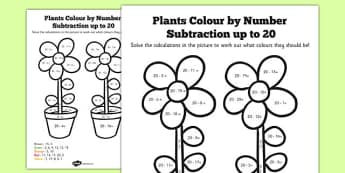 Plants Colouring by Numbers Subtraction up to 20 - plants, colour