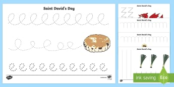 St David's Day Pencil Control Activity Sheets - St David's Day, Saint David, Dewi Sant, banner, flag, traditional dancing, costume, daffodil, leek,