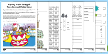 Mystery at the Springfall Town Carnival Maths Game - murder mystery, maths investigations lks2,problem solving, calculations, clues, measures, Numbers, T